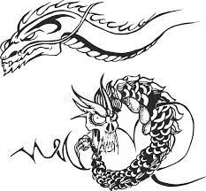 two powerful dragons for stencils stock vector illustration