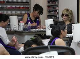 jane fonda gets a manicure and pedicure at a beverly hills nail