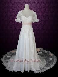 pink lace wedding dress 1920s regency style empire lace wedding dress with sleeves pink