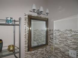 shower backsplash tile adorable dark brown stained vanity cabinet