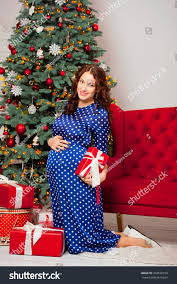 young beautiful pregnant woman long blue stock photo 344528159