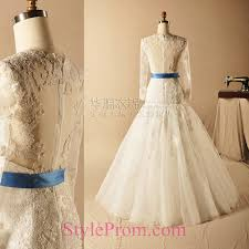 lace illusion back mermaid long seeves wedding dress with blue