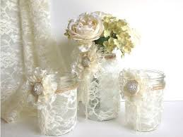 Mason Jar Vases For Wedding 3 Piece Lace Covered Mason Jars With Adorable Lace Flowers 1 Vase