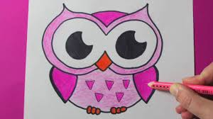 how to draw and color a cute pink owl easy happydrawings youtube
