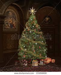 fantasy window christmas decorations stock illustration 64722058