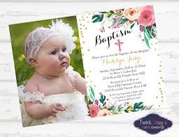 Baptismal Invitation Card Design Watercolor Floral Christening Invitation Christening Photo