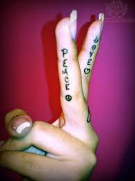 finger tattoo peace peace tattoo on fingers