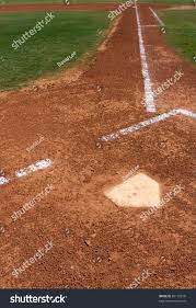 Home Plate Baseball by Baseball Infield At Home Plate Looking Toward First Base Stock