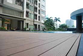eco friendly wpc outdoor decking floor wood grain grooved wood