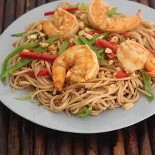 cold soba noodles with shrimp and peanut miso dressing emerils com