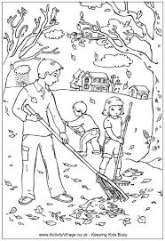 raking leaves coloring page dad and children raking leaves in