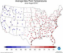 Temperature Map United States by National Climate Report August 2016 Summer Dew Point