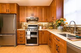 oak kitchen cabinets with stainless steel appliances contemporary upscale home kitchen interior with cherry wood cabinets