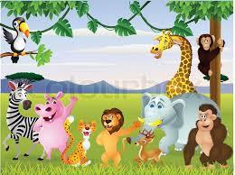 safari cartoon funny safari animal cartoon stock vector colourbox