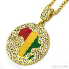 african gold necklace images Wholesale gold jamaican africa map continent african round pendant jpg