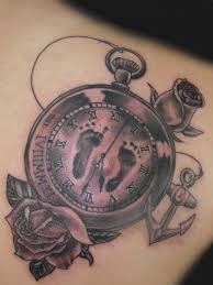 pocket watch memorial baby footprints tattoo com