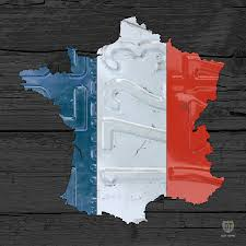 map of france plus french flag license plate art on gray wood