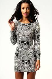 Skeleton Dress Halloween Skull Print Long Sleeve Bodycon Dress Boohoo
