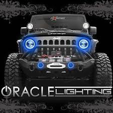 jeep wrangler blue headlights 2007 2017 jeep wrangler jk oracle led headlight fog light halo