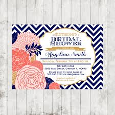 despedida invitation blue coral u0026 gold bridal shower invitation chevron diy printable