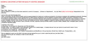 quality control manager offer letter