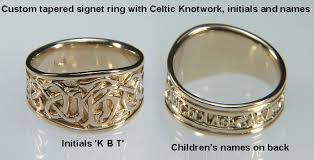 Ring With Initials Custom Tapered Designed Rings By Designet