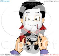 clipart of a mothers hands painting a vampire face on her son for