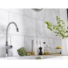 plaque imitation carrelage pour cuisine dalle murale pvc blanc dumawall l 65 x l 37 5 cm x ep 5 mm leroy
