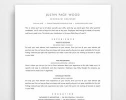 Template Resume Design Minimalist Resume Etsy