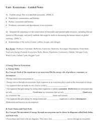 ecosystems guided notes