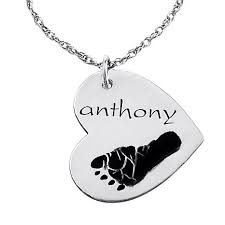 chain with name engraved name and footprint heart shaped sterling silver pendant