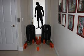 scary halloween decorations ideas stenciled pumpkins white door