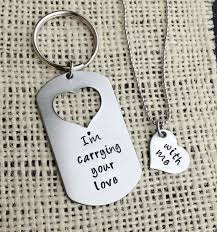 his and hers dog tags custom handsted dog tag with missing heart keychain and