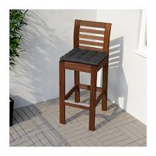 Outdoor Bar Table Ikea Pplar Bar Stool With Backrest Outdoor Brown Stained Ikea