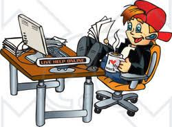 Feet On The Desk Clipart Illustration Of A Happy Young Man Holding Papers And