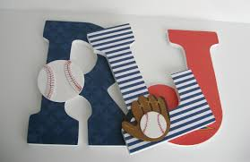 Childrens Bedroom Wall Letters Baseball Fan Theme Custom Decorated Wooden Letters