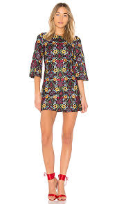 alice and olivia alice olivia coley floral embroidered dress in