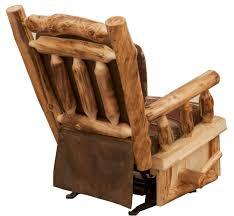 rustic aspen log rocker recliner the log furniture store