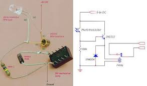 simple circuit phototransistor with relay control electronics