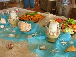 beach baby shower food table sand u0026 shell candles burlap