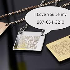 Necklace Engraving Amazon Com Qr Secret Message Necklace Engraving Qr Code Plate