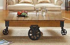Industrial Style Coffee Table Industrial Coffee Table Vintage Rustic Wood Metal Cart Wheel
