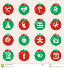 christmas balls with symbols of christmas stock photo image