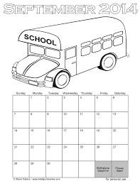 September 2014 School Bus Coloring Page Calendar September Coloring Pages For September