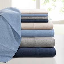 ink ivy heathered cotton jersey knit sheet set ebay