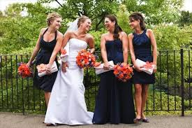 marine bridesmaid dresses pretty colors with the blue and bright flowers