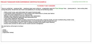 It Project Manager Resume Sample Doc by Project Manager Work Experience Certificate