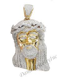 custom pendant new jesus yellow gold 2 1 2 white diamond 5 88ct