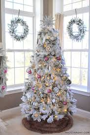 it s a white pink black and brown boho flocked tree this