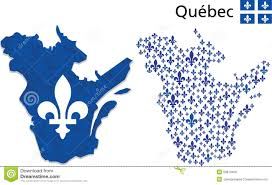 quebec map with fleur de lys emblem stock vector image 50610456
